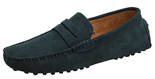 mens-suede-leather-loafers-classic-slip-ons-buckle-casual-boat-shoes-mocassins-deep-green-eu-38