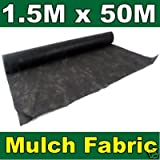 QVS Shop 1.5M X 50M Weed Control/Stop Garden Cover Landscape Mulch Sheet on a roll - 50gsm Non Woven