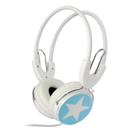 Nuoya001 Star Over The Head Boys Girls Childrens Kids Dj Styles Headphones Ipod Pc Blue White Color