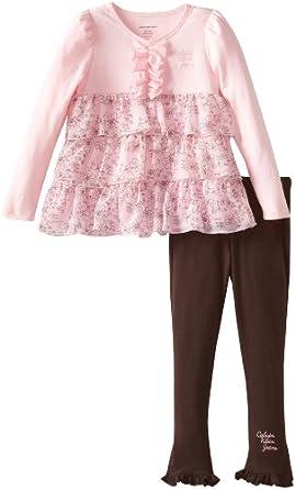 Calvin Klein Little Girls' Tunic with Leggings, Pink, 2T