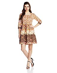 Rain and Rainbow Women's Pleated Dress (3695-SS/07-26_Brown_Medium)