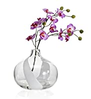 Artificial Orchid in Swirl Vase