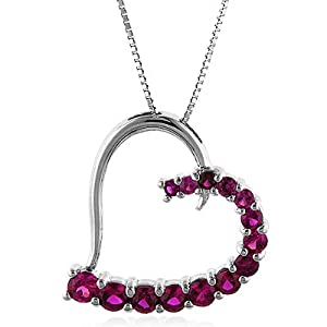 "Sterling Silver Ruby Heart Pendant w/18"" Chain"