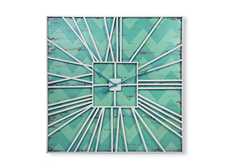 Foreside Home and Garden Metal Tic Wall Clock, Blue
