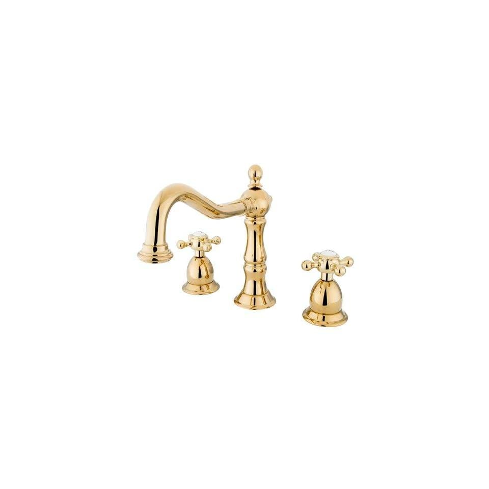 Heritage Double Handle Widespread Bathroom Faucet with Brass Pop Up Drain Finish Polished Brass