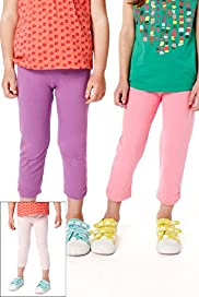 3 Pack Cotton Rich Assorted Leggings with Stay New&#8482;