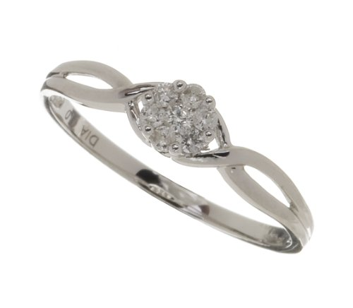 Ladies' 9ct White Gold 10pts Diamond Fancy Cluster Ring