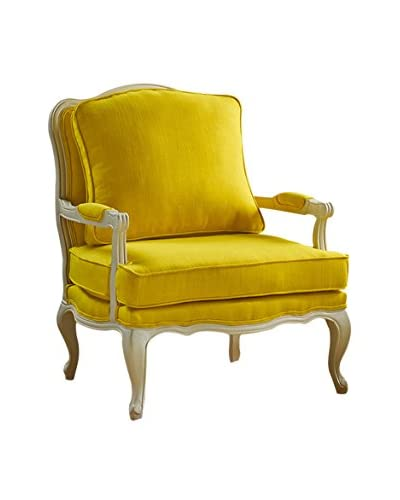 Baxton Studio Antoinette Classic Antiqued Fabric French Accent Chair, Yellow