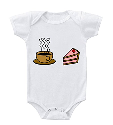 Cup Of Coffee Strawberry Cake Cotton Baby Infant Toddler Baby Bodysuit Creeper White 6 Months front-868142
