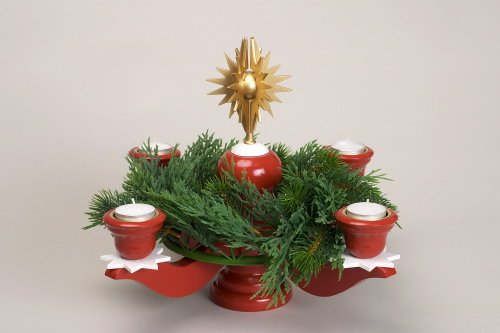Advent candle holder red for tea lights candle holder 40cm Seiffen Ore Mountains NEW