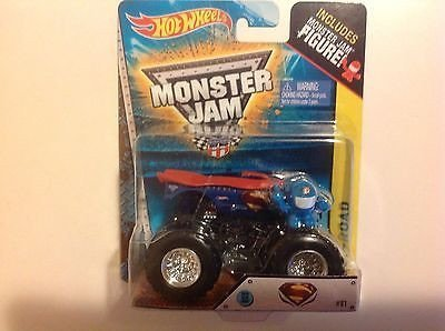 "Hot Wheels 1:64 Monster Jam Superman 2014 New ""S"" Deco With Figure #81"