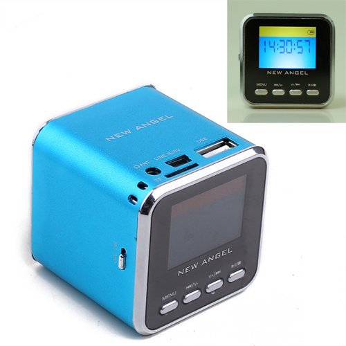 Hde Portable Mini Stereo Speaker, Mp3 Music Player & Fm Radio W/ Micro Sd Card Slot (Blue)