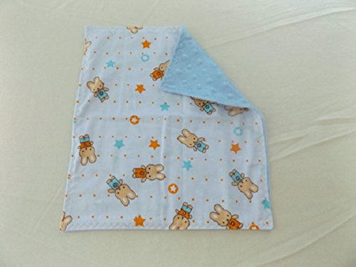 Little Boy Bunny Flannel and Minky Toddler Quilt, Security Blanket - Lovey, Baby, Carseat or Stroller Blanket