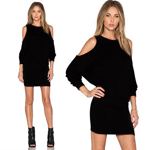 Reasoncool Donne sexy Solid manica lunga Off Qualora Mini Club Party Dress Sera (M, Nero)