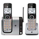 AT&T CL81214 DECT 6.0 Expandable Cordless Phone with Caller ID and Big Buttons, Silver/ Black with two handsets (Color: silver/black, Tamaño: 2 handset)