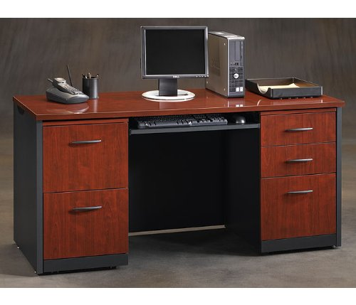 Classic Cherry/Soft Black Credenza VIA Collection by Sauder Office Furniture - OFG-CR0003