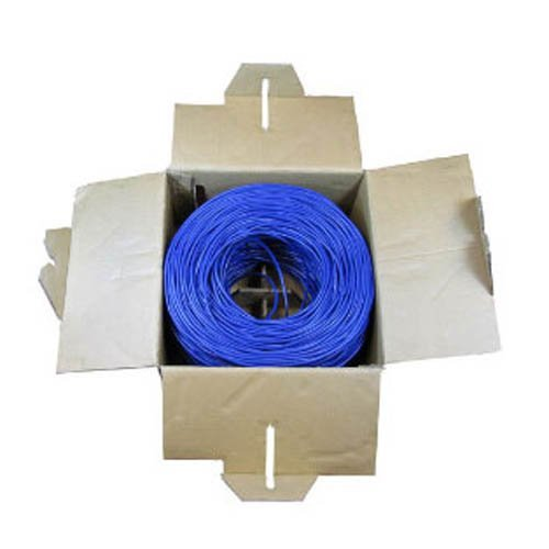 BattleBorn 1000ft UTP Solid Foot Cat5e Ethernet Bulk Cable Roll Pull Box - Blue