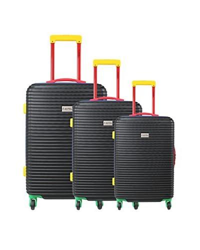 ZIFEL Set de 3 trolleys rígidos Negro