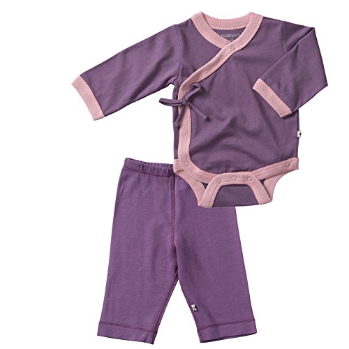 Babysoy Soy Soft Kimono Bodysuit And Slip On Pants Set In Eggplant (12-18M) front-740604