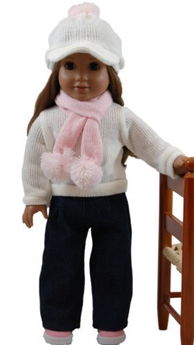 "Denim Jean Set, Cream Sweater, Pink Scarf, Cap Fits 18"" American Girl?Doll Clothes & Accessories by The Queen's Treasures"