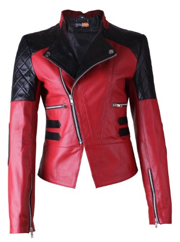 FactoryExtreme Damask Red w Black Patch work Womens Biker Leather Jacket, X-Large, Red