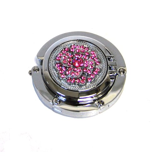Designer Collection Pink Rhinestone Magnetic Foldable Purse Hook/hanger with Hidden Mirror