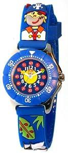 Baby Watch - Montre Garçon - Zip Pirates - Montre pédagogique 6-9 ans - Plastique gomme bleu avec dessins 3D - Méthode d'apprentissage