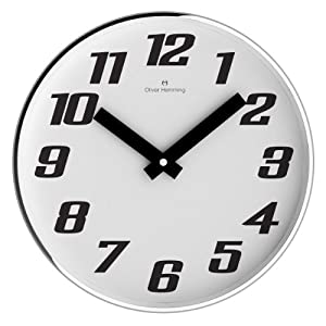 Oliver Hemming 30 cm Bold Arabic Chrome Steel Designer Wall Clock and Mineral Glass Lens