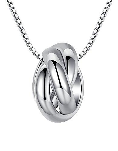 arco-iris-jewelry-colgante-de-collar-de-la-mujer-de-plata-de-ley-tres-anillos-de-interseccion-cadena