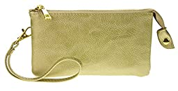 PROYA Collection Classic Soft-Leather Mini All-in-one Wristlet Organizer Wallet (Gold)