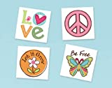 Hippie Chick Temp Tattoos (16) Favors Assorted Peace Owl Girl Birthday Party