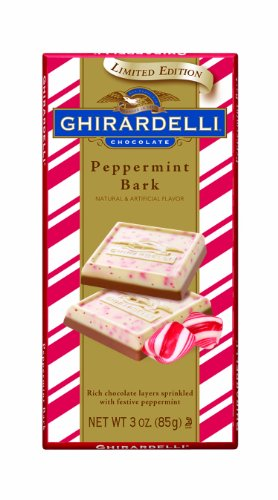 Ghirardelli Chocolate Bars, Peppermint Bark, 3-Ounce Bars (Pack of 4)