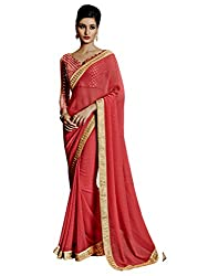 Suchi Fashion Pink Embroidered Georgette Party Wear Saree