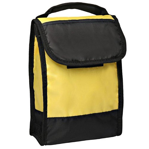 Lunch Cooler Bag with Clear Id Pocket on Back Folds Flat for Storage, Yellow by BAGS FOR LESSTM - 1