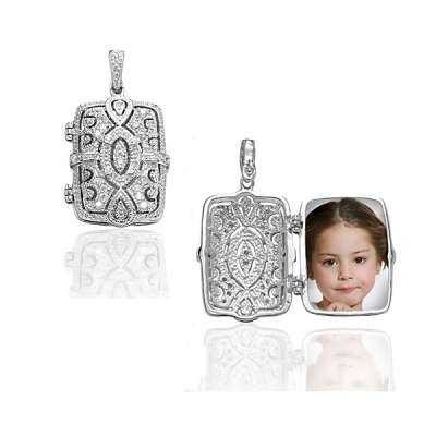 Charming Necklace Pendant Jewelry 925 Sterling Silver Oval Design Locket Design and Clear CZ (WoW !With Purchase Over $50 Receive A Marcrame Bracelet Free)