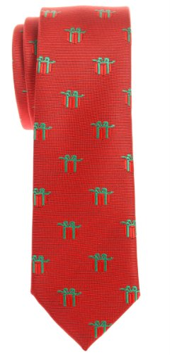 Retreez-Christmas-Gift-Graphic-Woven-Microfiber-Skinny-Tie-Various-Colors