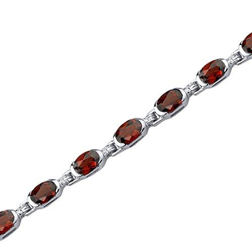 9.00 Carats Garnet Bracelet Sterling Silver Oval Shape