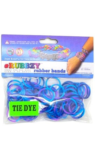 Rubbzy 100 pc Tie Dye Rubber Bands w/ 4 Connectors For all Bracelet Looms (#920) - 1