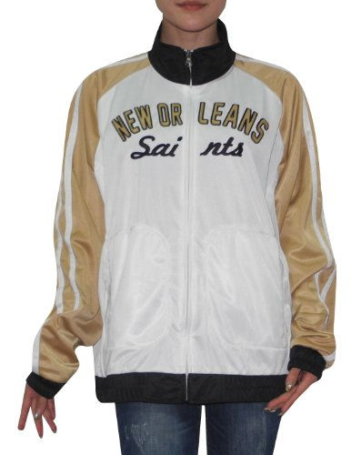 NFL New Orleans Saints Womens Zip-Up Track Jacket with Embroidered Logo XXL White at Amazon.com
