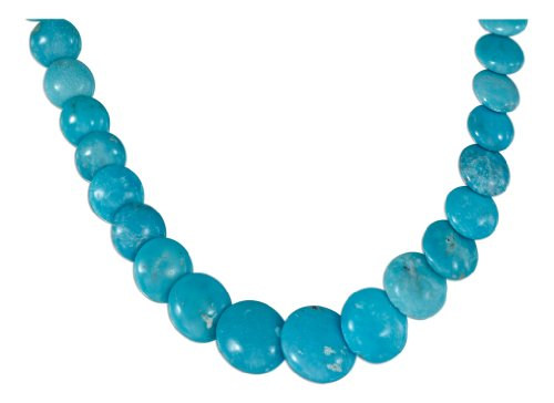 Sterling Silver 17 inch Lentil Turquoise Bead Necklace with Toggle Closure.