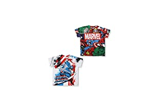 MARVEL Pack x 2 Camisetas Manga Corta Pack 9 (Blanco / Multicolor)