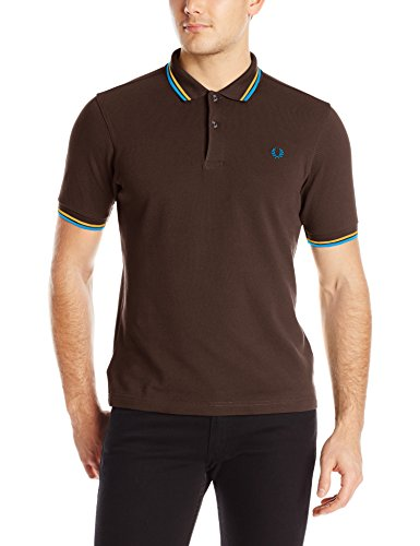 FRED PERRY M3600-940, Polo Uomo, Multicolore (Chocalate / Mustard / Clear Blue), XXL