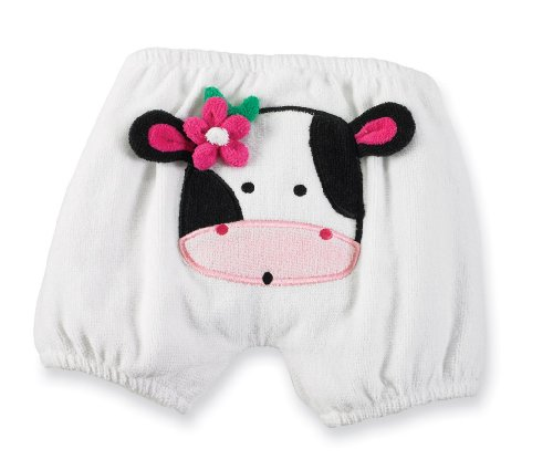 Mud Pie Girls Cow Terry Cloth Diaper Cover, White, 0-6M