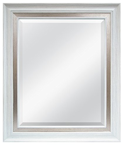 MCS 16 by 20 inch Beveled Mirror, White with Brushed Steel Finish. 22 by 28 inch Outside Dimension (47691)