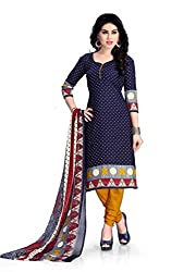 Nazaquat Blue Printed Crepe Unstitched Dress Material