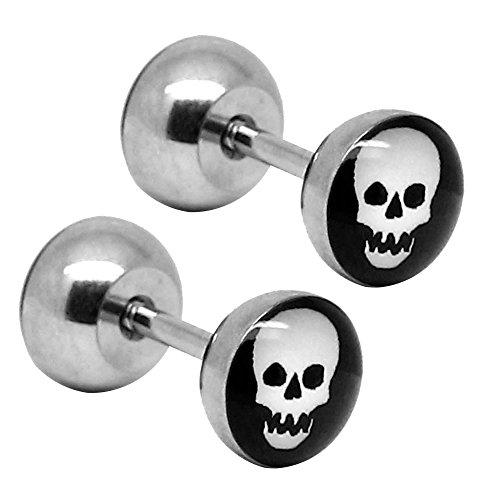 tumundo-halloween-falso-fake-plugs-orecchini-acciaio-inossidabile-piercing-cranio-zucca-unisex-bambi