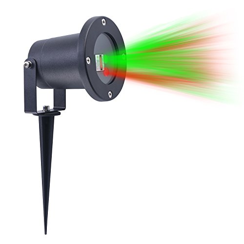 Laser Christmas Light 8 Patterns in 1 Waterproof Cold Resistant, RF Remote Control, Outdoor and Indoor USE. Red and Green Star Laser Projector for Christmas and Party Decoration