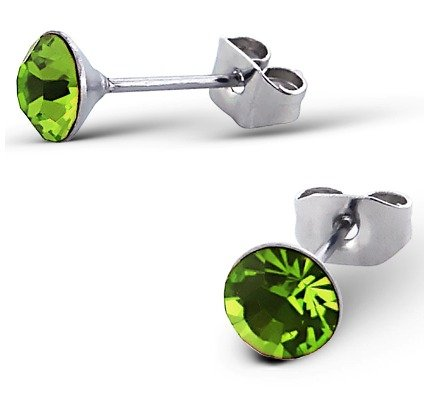 Pair of Peridot Green Round Austrian Crystal Classic Gem Stud Earrings (6mm) Silver Surgical Stainless Steel (will not tarnish/fade) Supplied in Gift Pouch