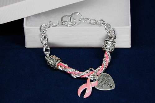 Pink Ribbon Bracelet-Partial Rope (18 Bracelets)