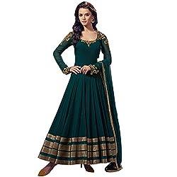 London Beauty Women's Georgette Anarkali Suit Dress Material (LBDJ10018_DARK GREEN)